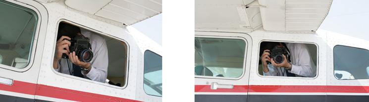 セスナ機からの斜め撮影風景