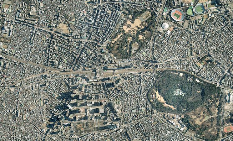 新宿上空の航空写真